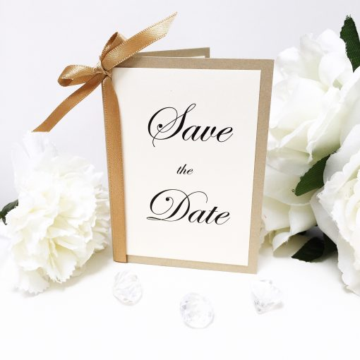 Gold & Ivory Folded Save the Date with bowed satin ribbon
