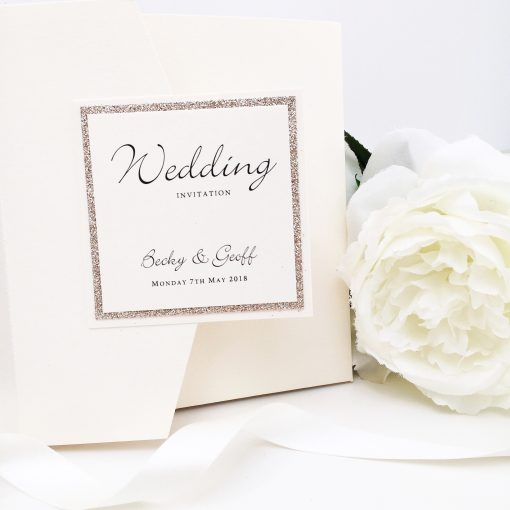 Champagne Gold & Ivory Glittery Pocketfold Wedding Invitation with a plaque