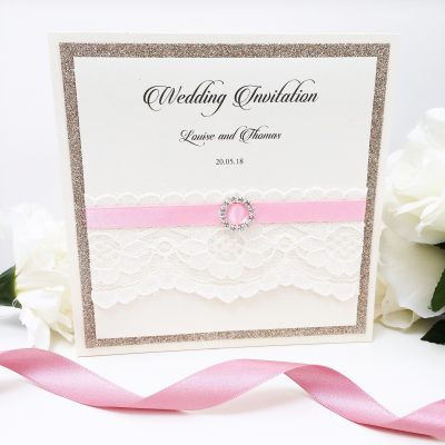 Lace and Glitter Pocketcard Invitations with Pink Ribbon and a diamante buckle