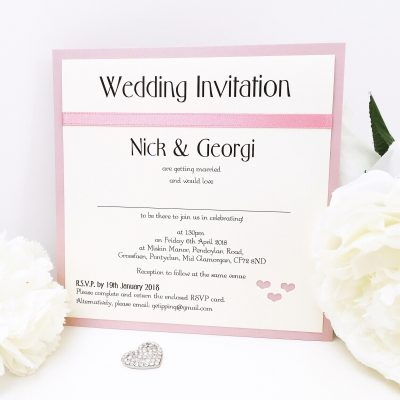 Dusky Pink Heart Themed Flat Mounted Wedding Invitation