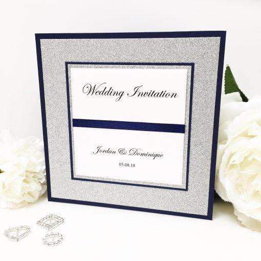 Luxury Navy & Silver Glitter Card Pocketcard Wedding Invitation with satin ribbon
