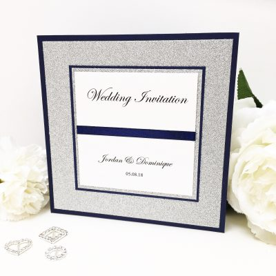 Luxury Navy & Silver Glitter Card Pocketcard Wedding Invitation with satin ribbon