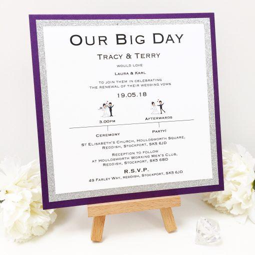 Purple & Silver Glitter Our Big Day Wedding Invitations