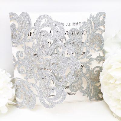 Silver Glitter Laser Cut Wedding Invitations