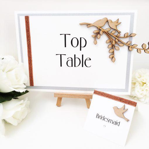 Oh So Tweet Woodland Bird themed Wedding Table Name Sign