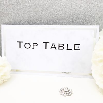 Marble & Chrome themed Table Name Sign
