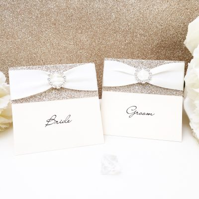 Fancy Placecards featuring Gold Glitter Card, Ivory Ribbon & a Fancy Buckle