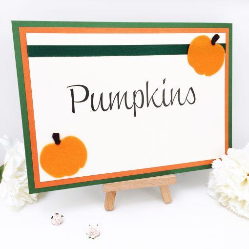 Cute Autumn Pumpkin themed Wedding Table Name Signs