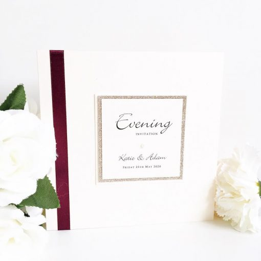 Burgundy Red and Gold Glitter styled Folded Invitations