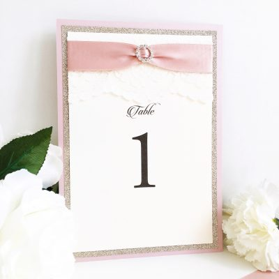 Dusky pink and Gold glitter table numbers with lace