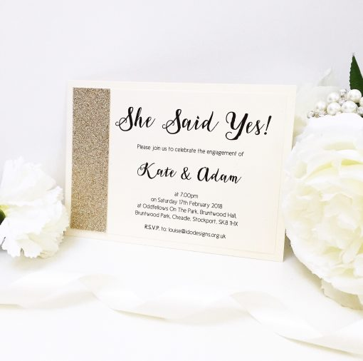 Ivory Engagement Party Invitations with Champagne Gold Glitter