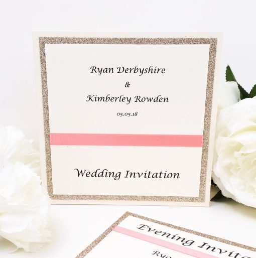 Coral and Gold Glitter styled Wedding Pocketcard Wedding Invitation