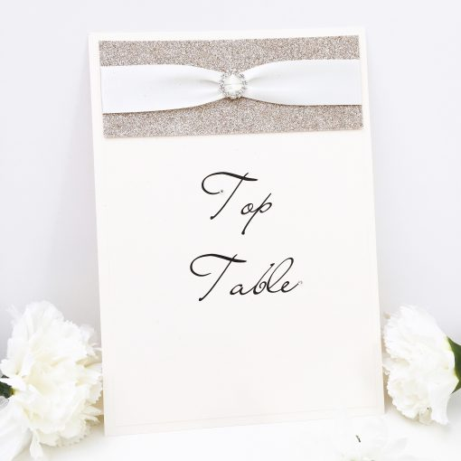 Classic Ivory Table Name with Gold Glitter and fancy ribbon buckle