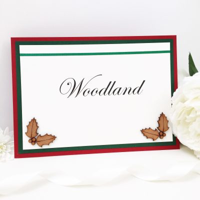Rustic Winter Holly themed Table Name Signs