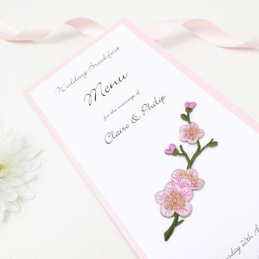 Cherry Blossom Themed Wedding Menus