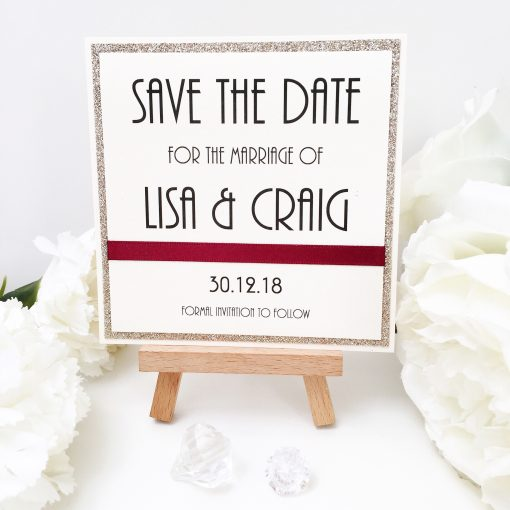Champagne Gold Glitter Themed Save the Date Cards with Burgundy Ribbon