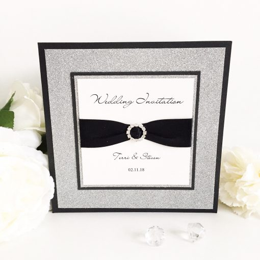 Black & Silver Glitter Card Pocketcard Wedding Invitation with diamante ribbon buckle