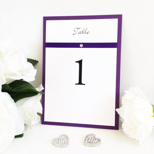 A6 Classic Purple and White Table Number signs