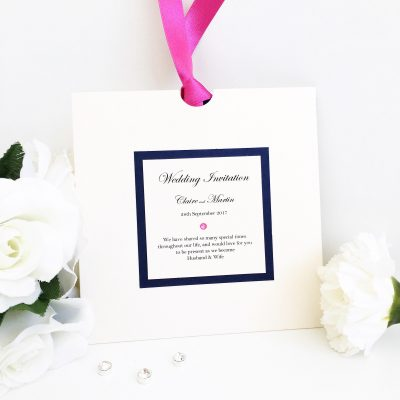 Navy & Fuchsia Pink Wallet style wedding invitation with ribbon detail