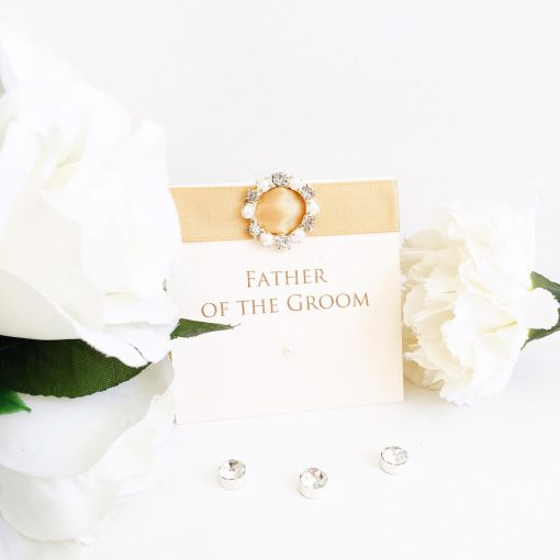 Gold & Ivory Placecards with a luxury Diamante & Pearl Buckle