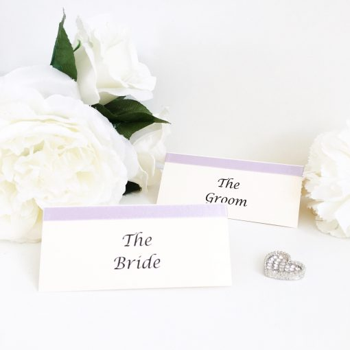 Lilac and Ivory Traditional Folded Placecards