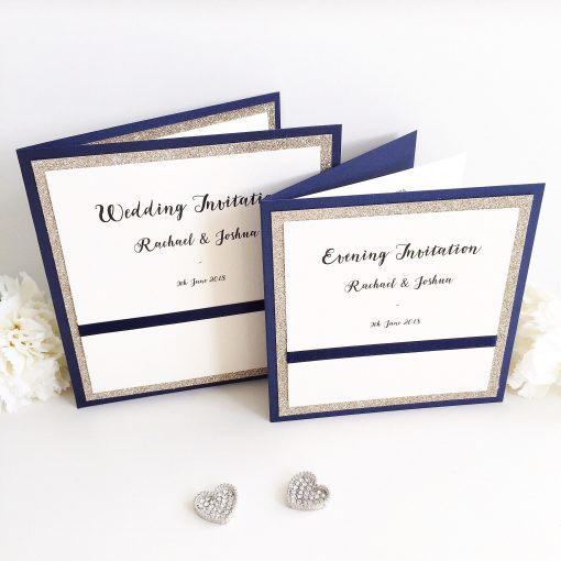 Gold Glitter and Navy Wedding Pocketfold Invites with matching Evening Invites