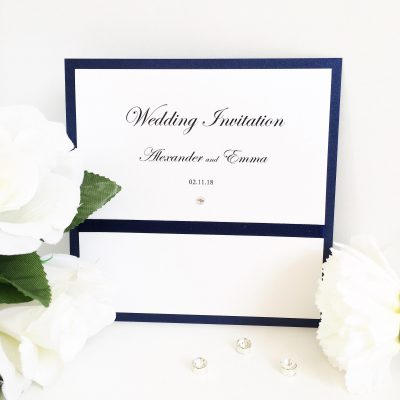 Navy Blue and White pearlised traditional folded Wedding Invitations