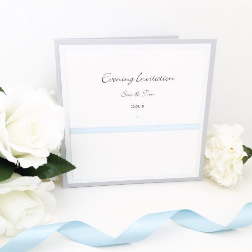 Baby Blue and Silver pearlised folded Evening Invitations