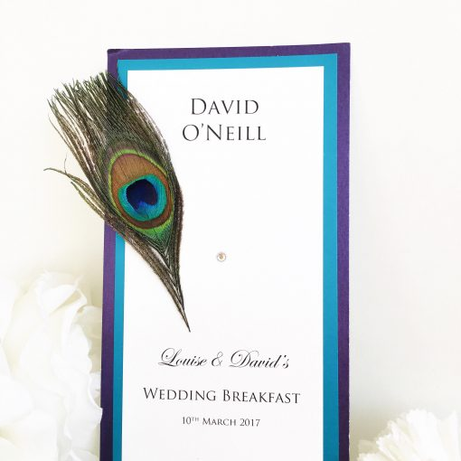 Fancy Peacock Themed Wedding Breakfast Menus
