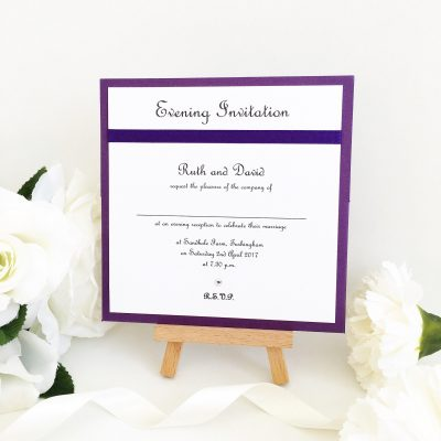 Purple & White Evening Invitation