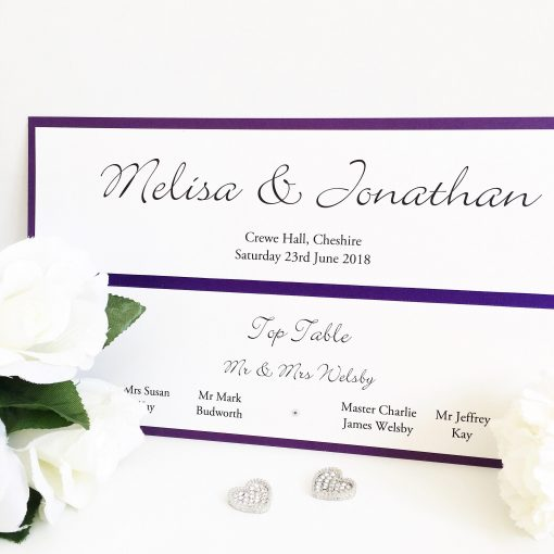 Purple & White Table Plan Header Card for a mirror