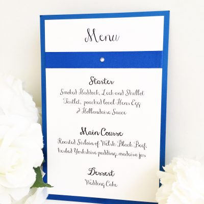 Royal Blue and White pearlised Wedding Breakfast Menus with ribbon detail