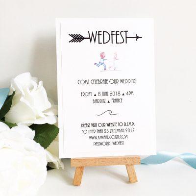 Fun Wedfest themed Postcard style Wedding Invitations