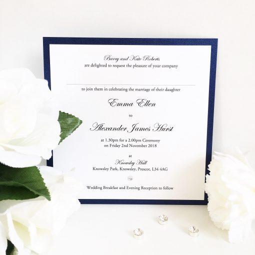 Navy Blue & White Classic Flat Wedding Invitation