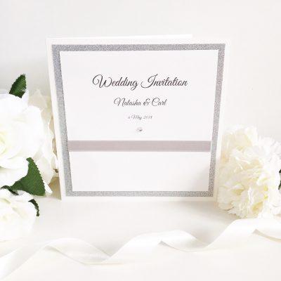 Silver Glitter & White Classic Folded Wedding Invitation with a diamante