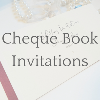 get a free sample of a Cheque Book wedding invitation