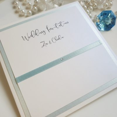 Baby Blue and White style Folded Wedding Invitation with pearlised card