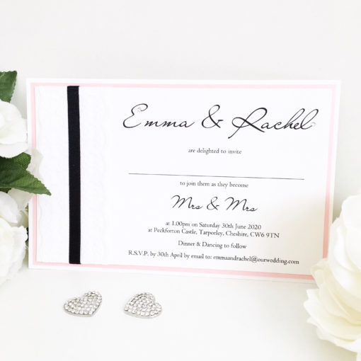 Black & Pink styled Wedding Invitations with Lace detailing