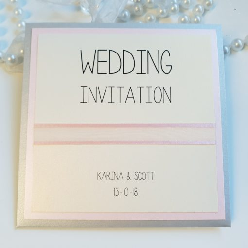 Blush Pink and Silver Pocket Card Wedding Invitation with Sheer Organza Ribbon