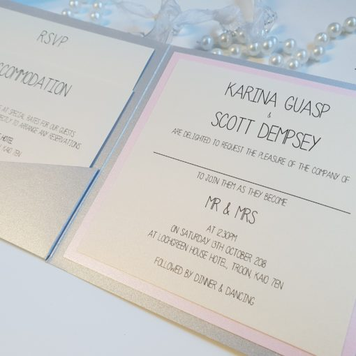 Blush Pink and Silver Pocket Card wedding invitation inserts
