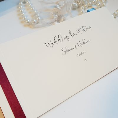 Burgundy and Ivory Classic Cheque Book style Wedding Invitation