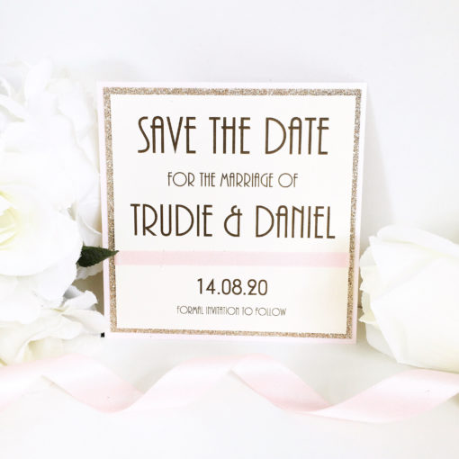 Champagne Gold Glitter & Pink Art Deco style Save the Dates