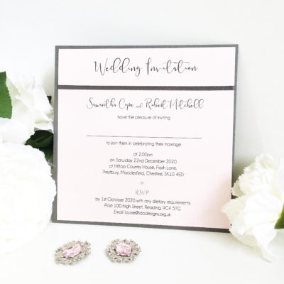 Charcoal & Blush Pink Wedding Invitations with satin ribbon detail