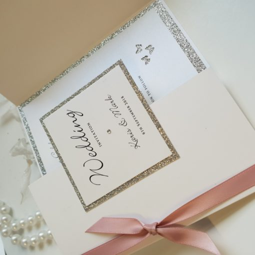 Dusky Pink and Silver Glitter theme Gate fold style Wedding Invitations with a butterfly theme inside