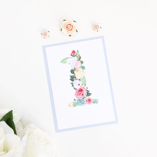 Floral Table Number Sign with a Blue Card mount