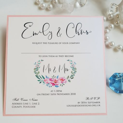 Floral Wreath themed Wedding Invitation featuring a pretty pink peony design