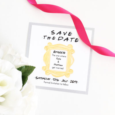 Friends Theme Save the Date cards with a silver colour scheme