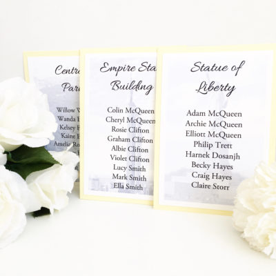 Lemon & White New York Theme Table Plan Cards