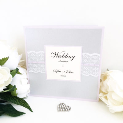 Lilac & Silver Wedding Invitation with Vintage Lace Detail
