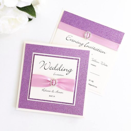 Luxury Lilac Glitter themed Pocket Wedding Invitations with a fancy diamante buckle